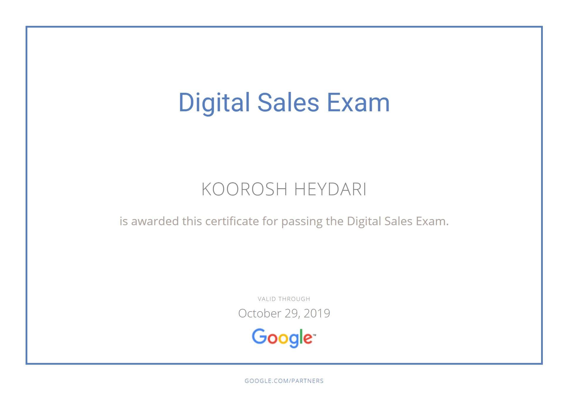 مدرک فروش دیجیتال گوگل
