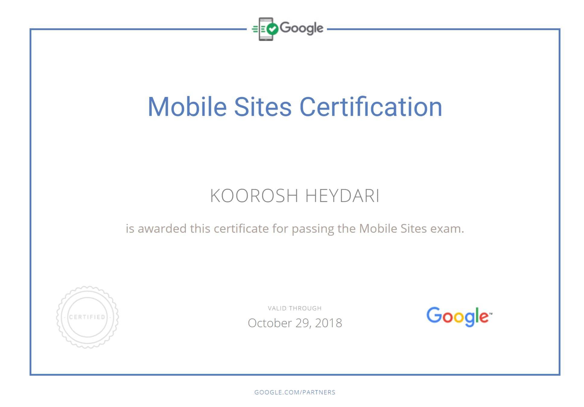 مدرک متخصص سایت های موبایل گوگل