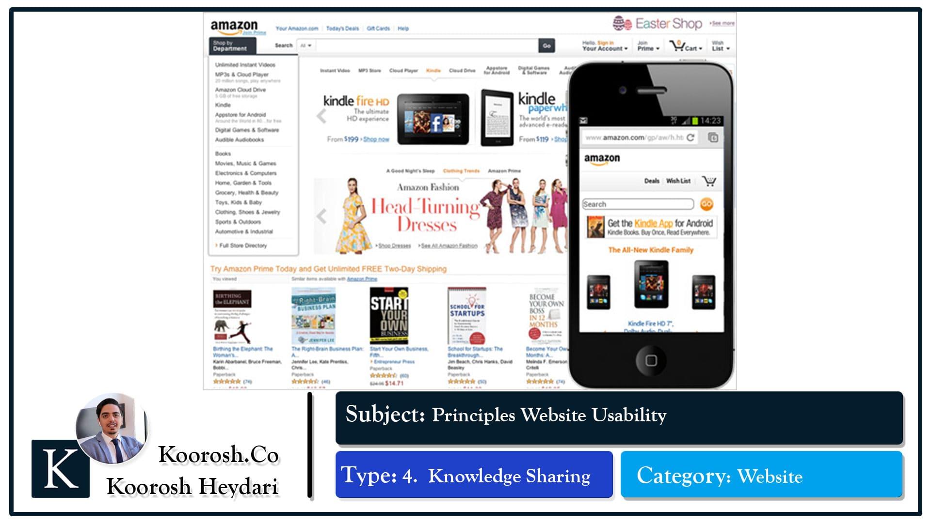بررسی کارایی طراحی وبسایت آمازون