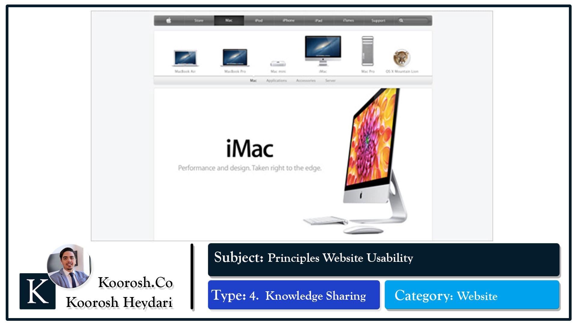 ویژگی های طراحی وبسایت اپل