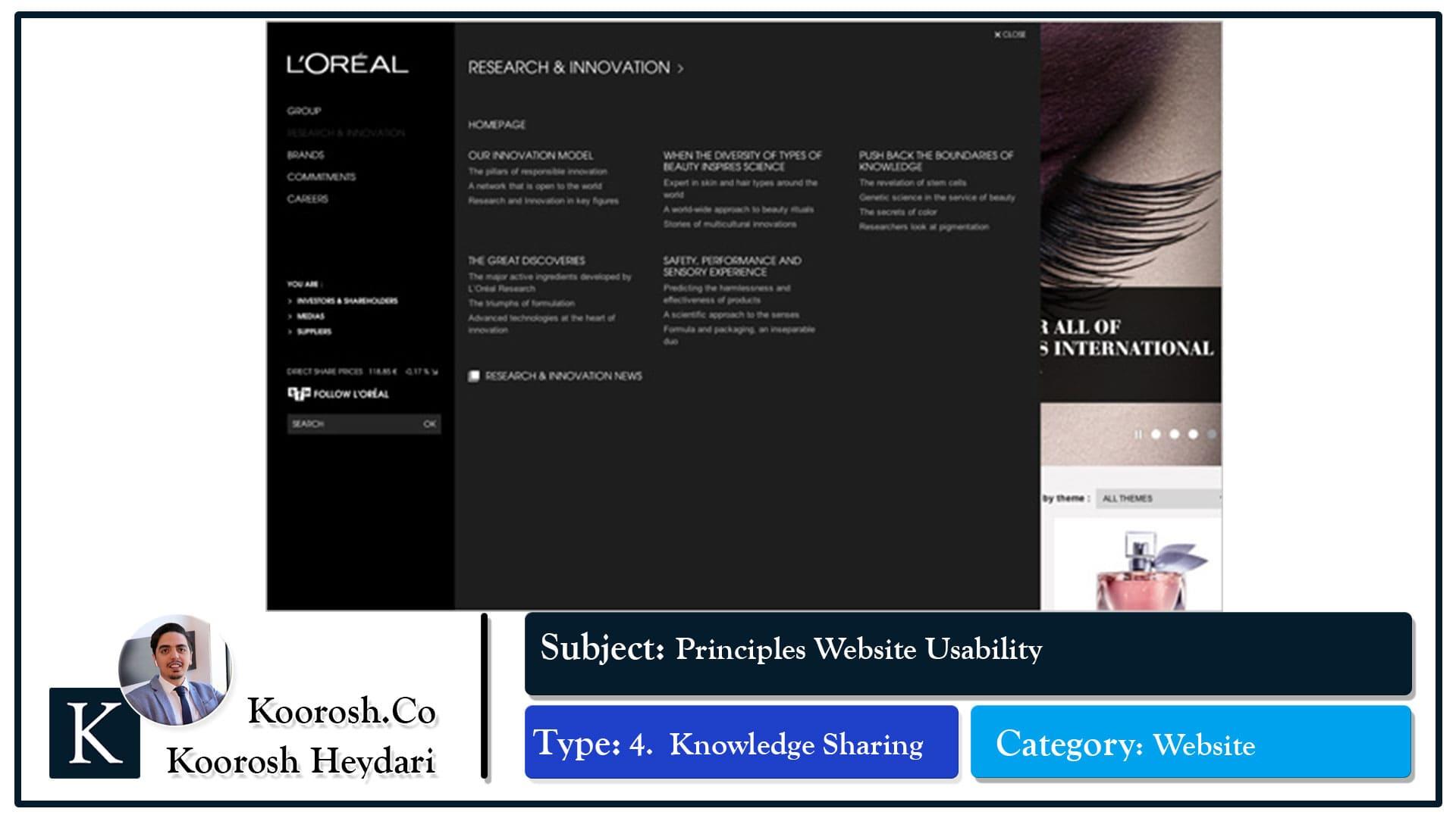 اعتبار و تولید محتوای وبسایتLOREAL