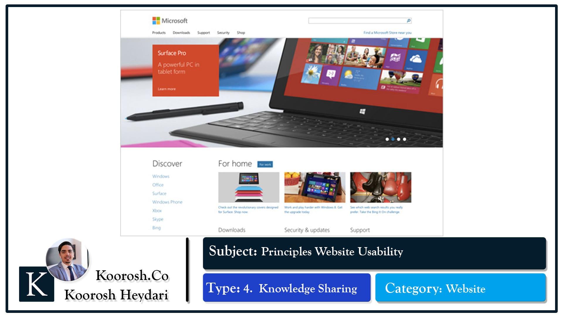 ویژگی های وبسایت مایکروسافت